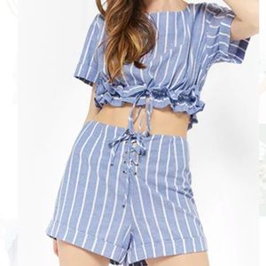 Blue Striped Two-piece Set